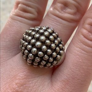 Vintage Sterling Silver Bead Cluster Ring